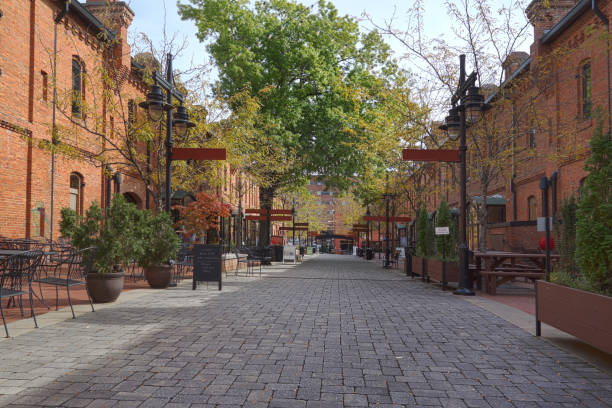 Durham NC retail shops converted from old tobacco warehouses stock photo