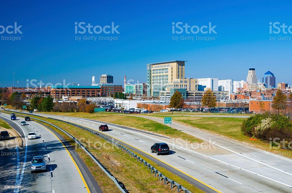 Durham skyline and highway stock photo