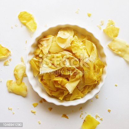 Crispy durian chips on a white background