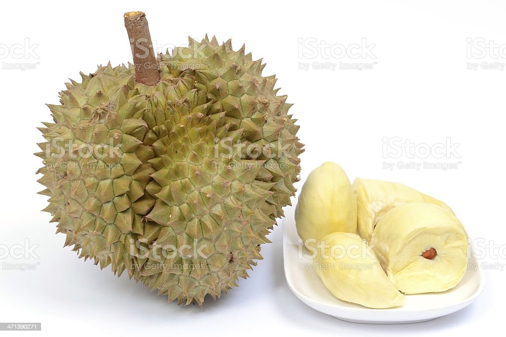 Durian fruit and ready to eat on plate stock photo