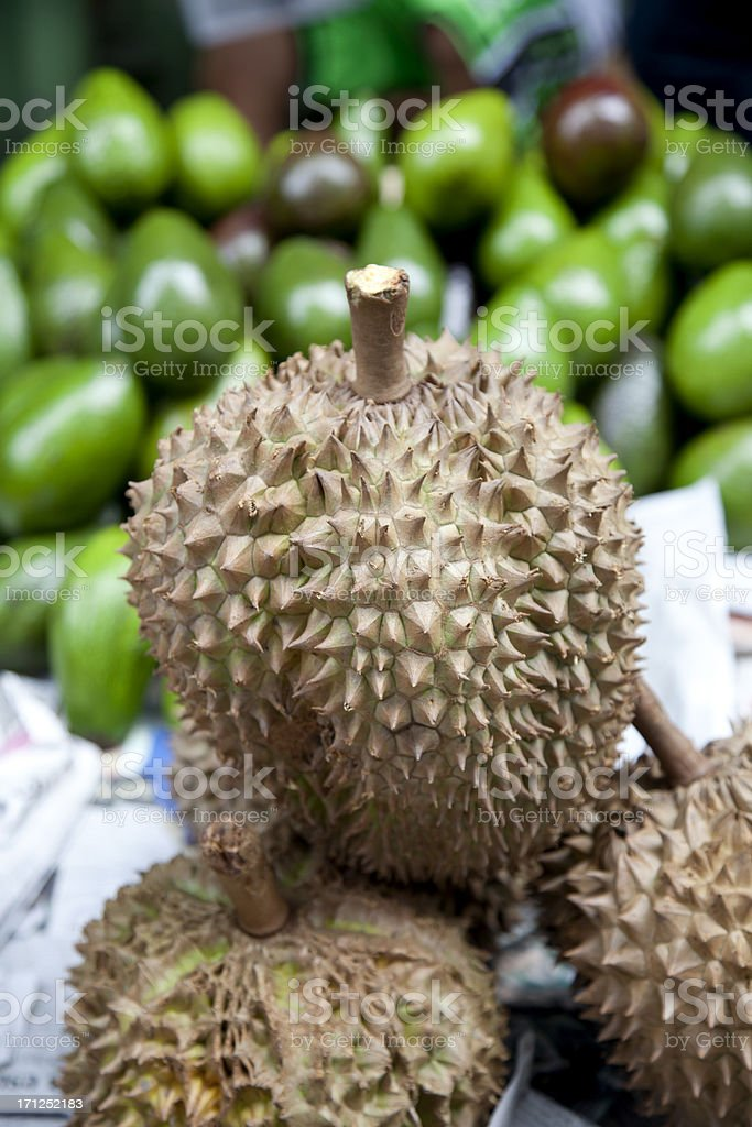 Durian Fruit for Sale on Street stock photo