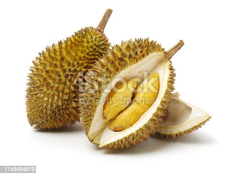 Durian fruit in south east asia, the king of fruits on white background