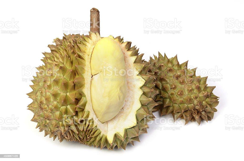 Durian fruit isolated on white backgrounds stock photo