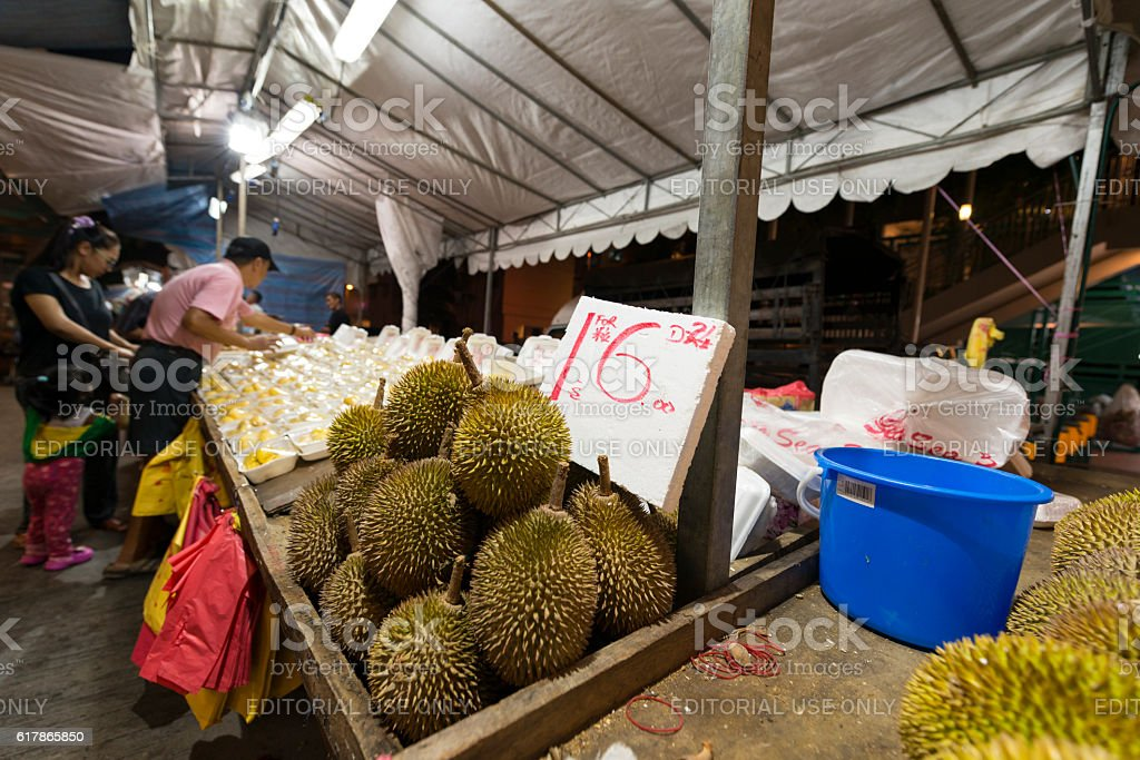Durian Fruit Stall at Pasar Malam, Singapore stock photo