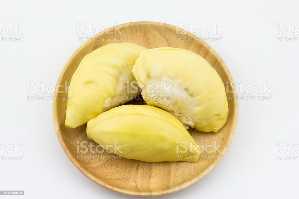 Durian in wooden dish stock photo
