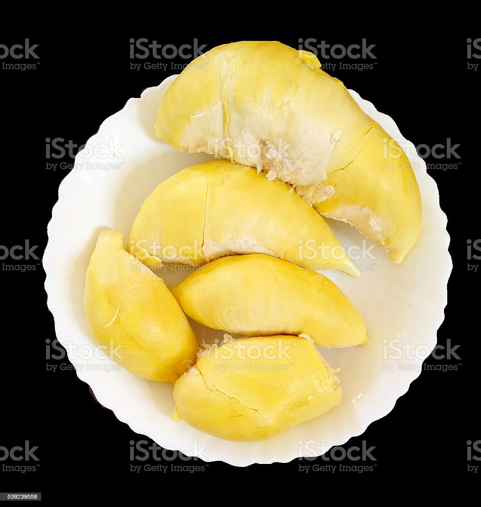 Durian , King of Fruits in white dish royalty-free stock photo