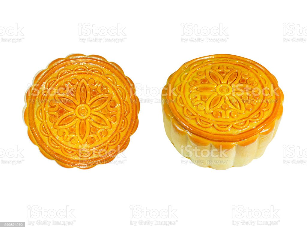 Durian mooncakes for the Mid-autumn festival isolated on white b stock photo