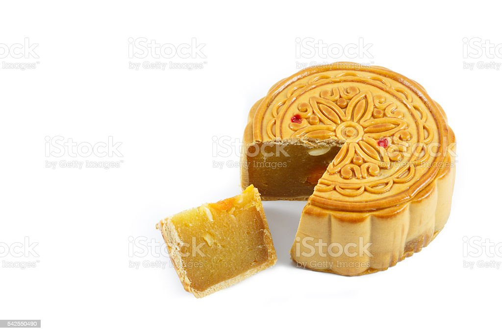Durian mooncakes on white background stock photo