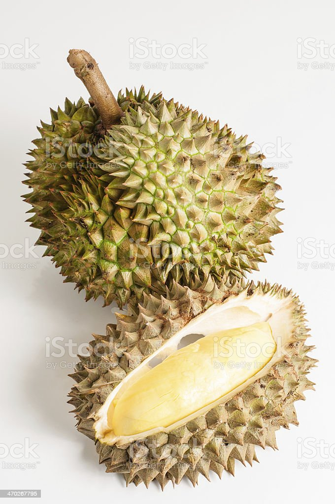 Durian open with yellow flesh fruit. royalty-free stock photo