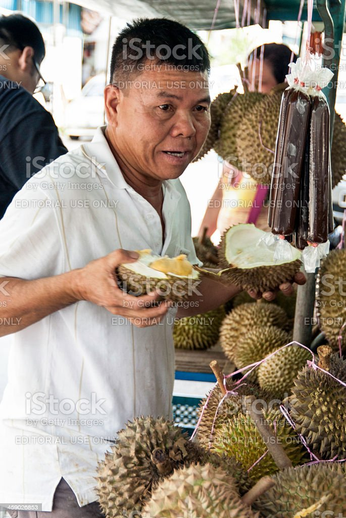 Durian vender and street stall stock photo
