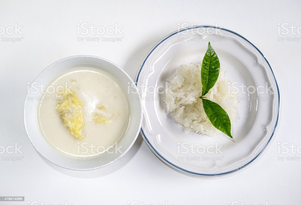 Durian with coconut stick rice stock photo