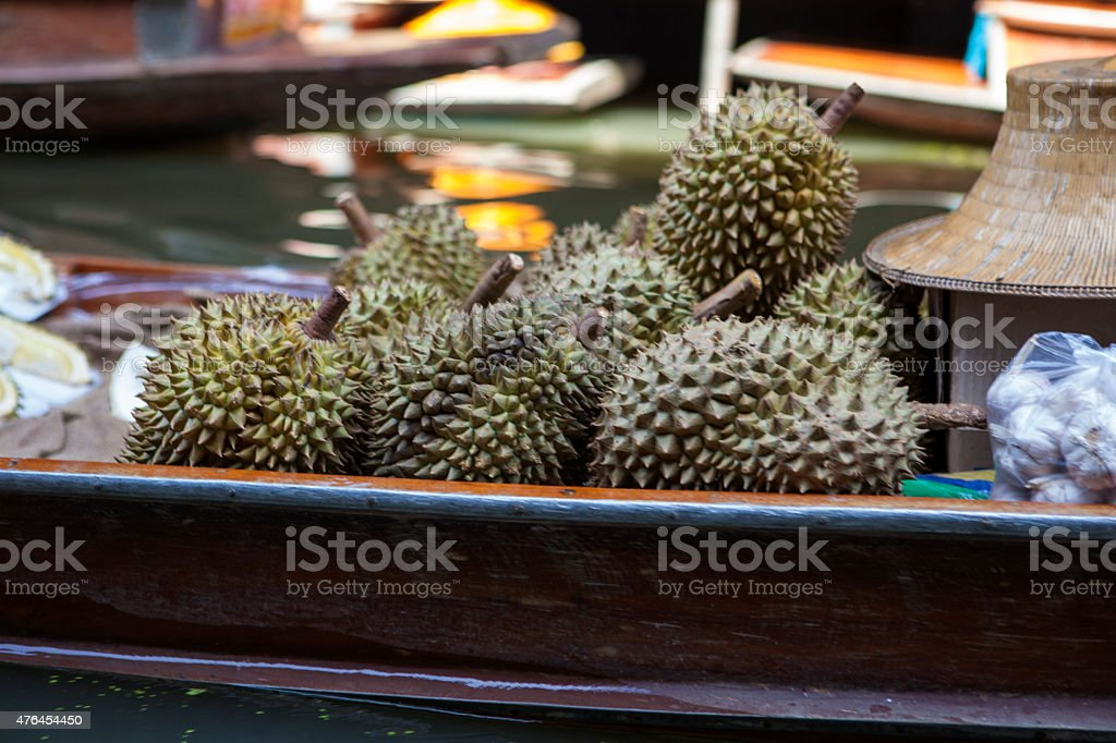 Durians on the water market stock photo