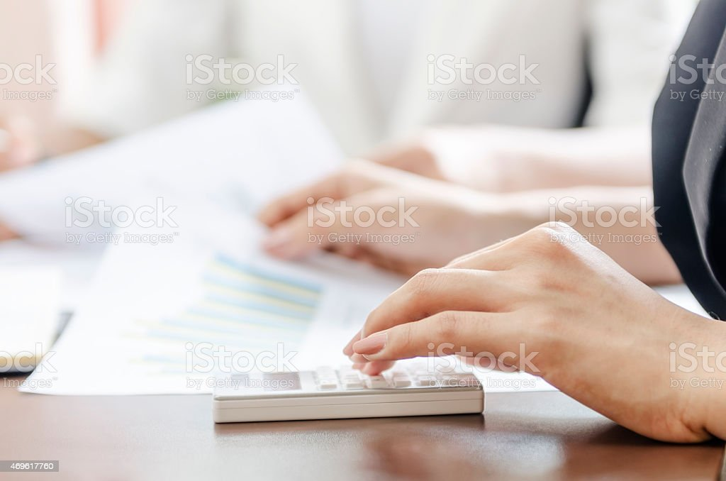 during a meeting stock photo
