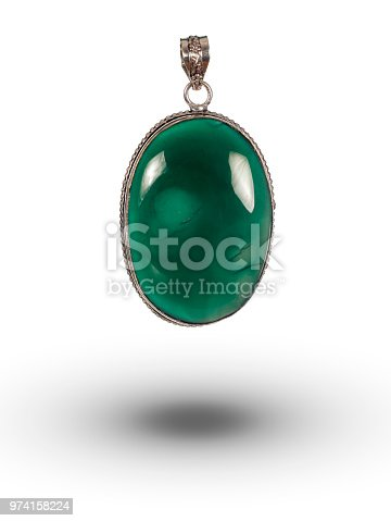 gemstone pendant isolated on white background with soft shadow