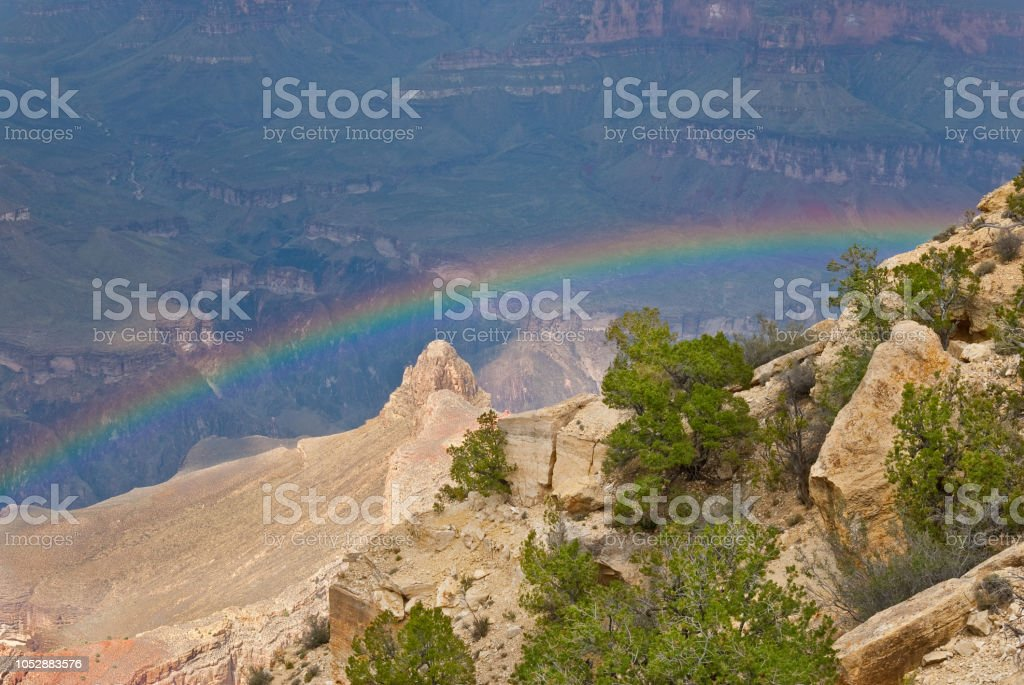 Rainbow in the Grand Canyon stock photo