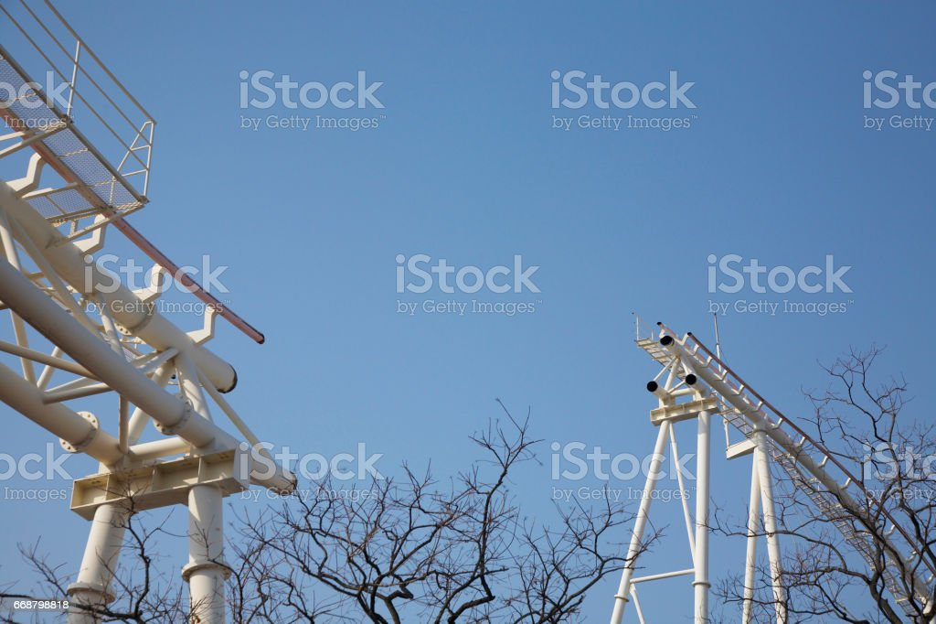 During the demolition of roller coasters stock photo