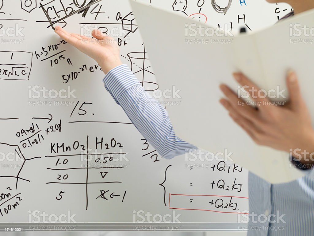 During the presentation, business woman uses a white board. royalty-free stock photo