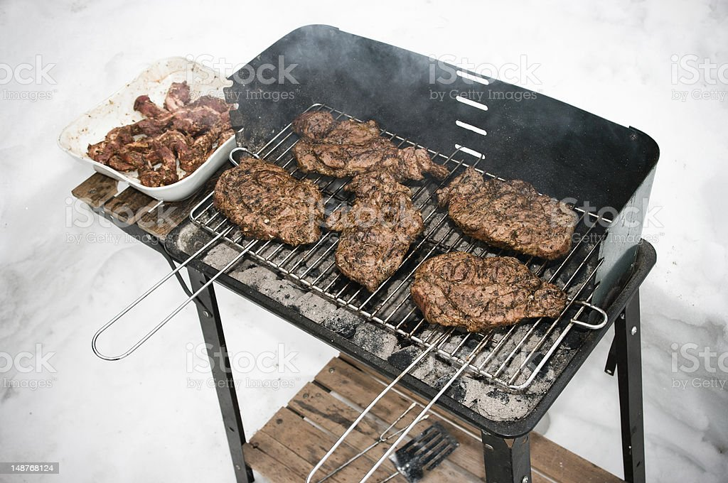 BBQ during the winter stock photo