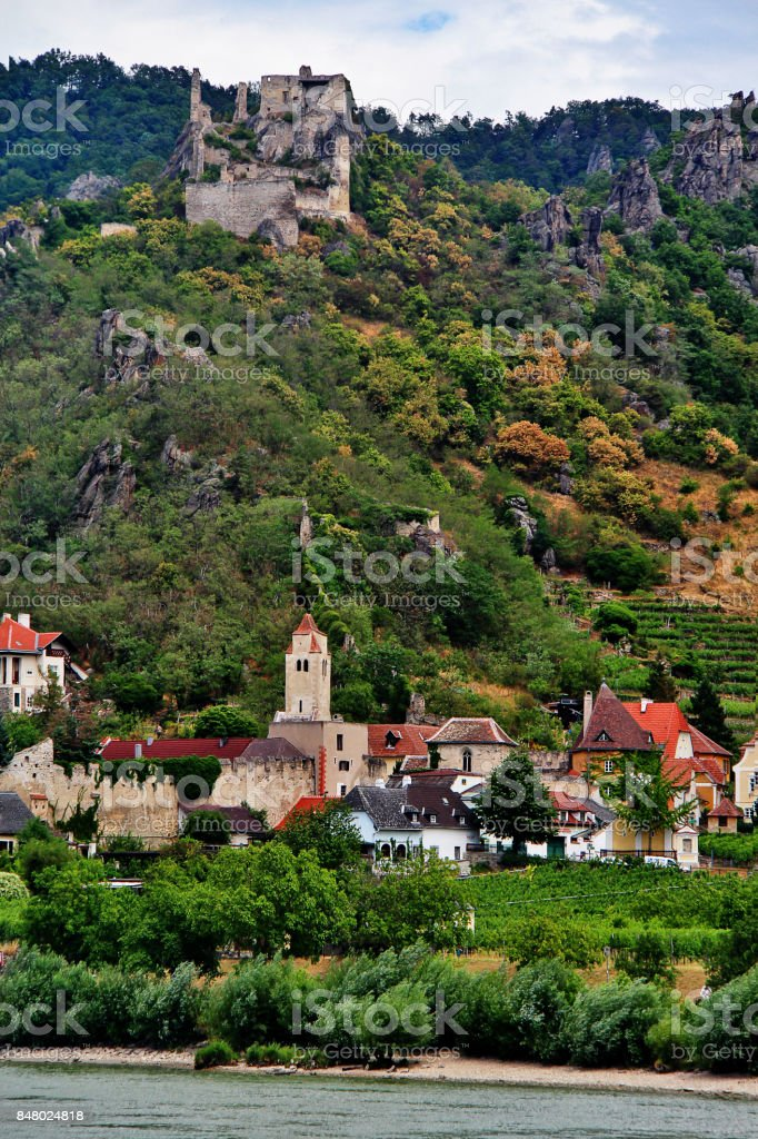 Durnstein, a small town on the Danube river in the Krems-Land district, in the Austrian state of Lower Austria, Wachau Valley, Austria (Osterreich) stock photo