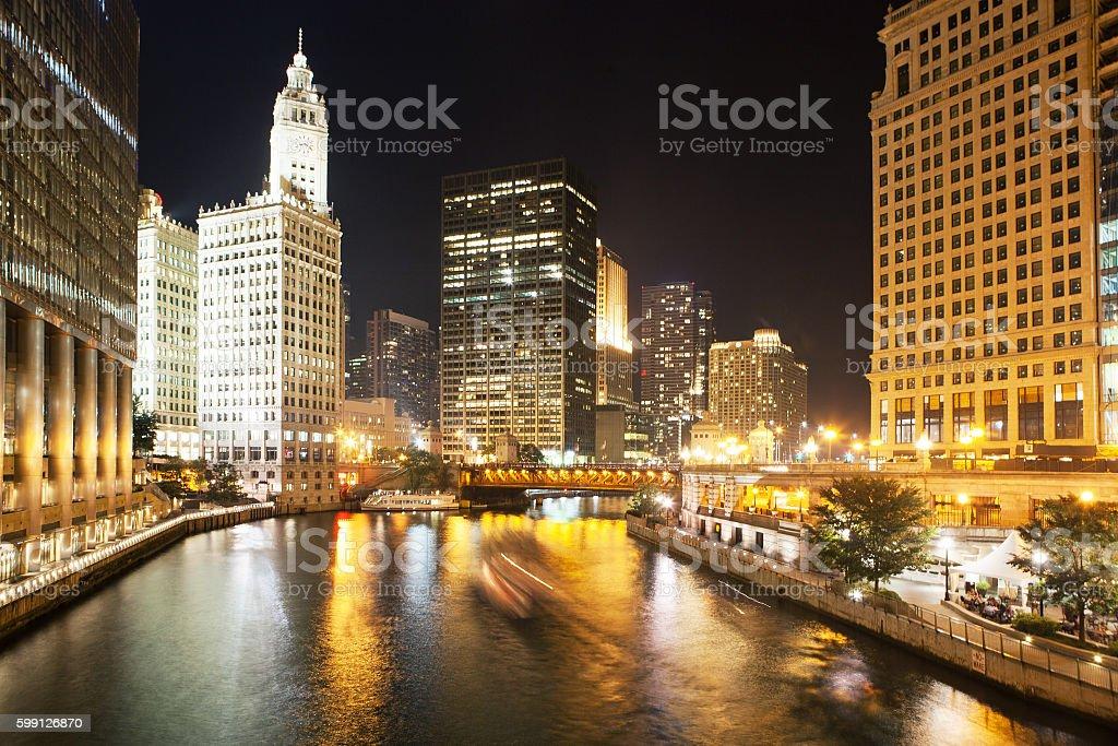 DuSable bridge at night, Chicago. stock photo