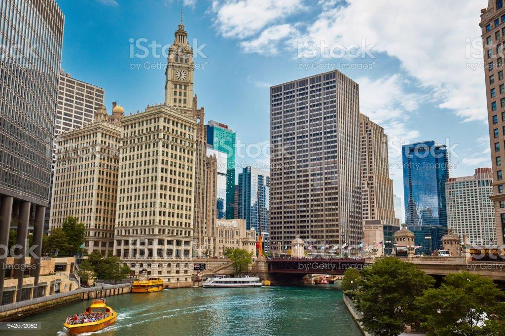 DuSable bridge, Chicago stock photo