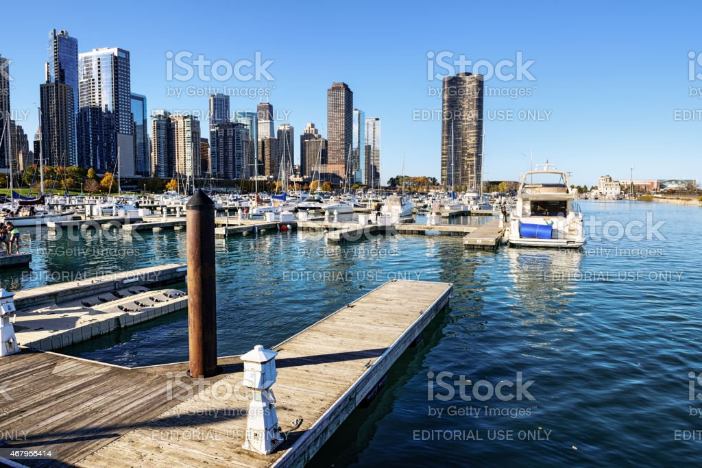 DuSable Harbor and Chicago skyline stock photo