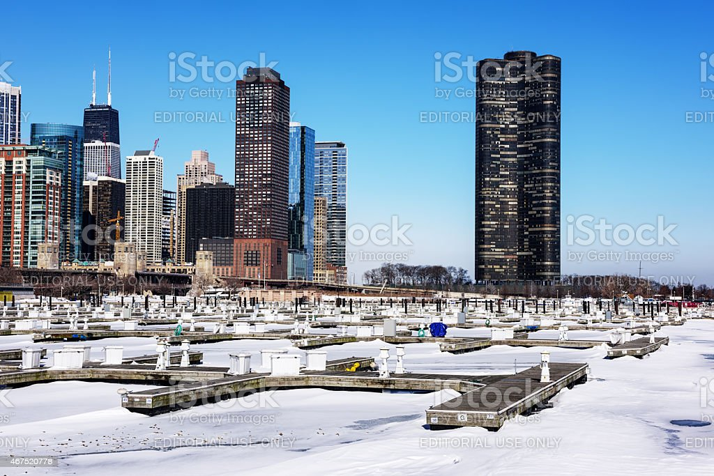 DuSable Harbor and Lake Point Tower in winter, Chicago stock photo