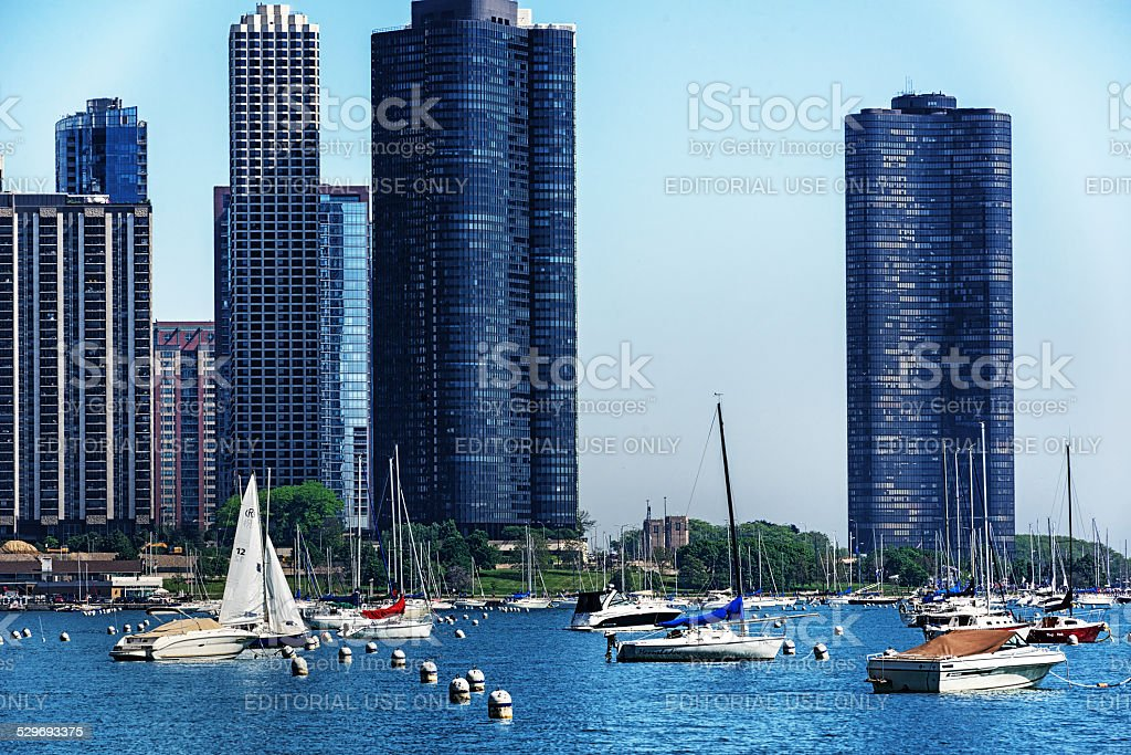 DuSable Harbor in Chicago stock photo