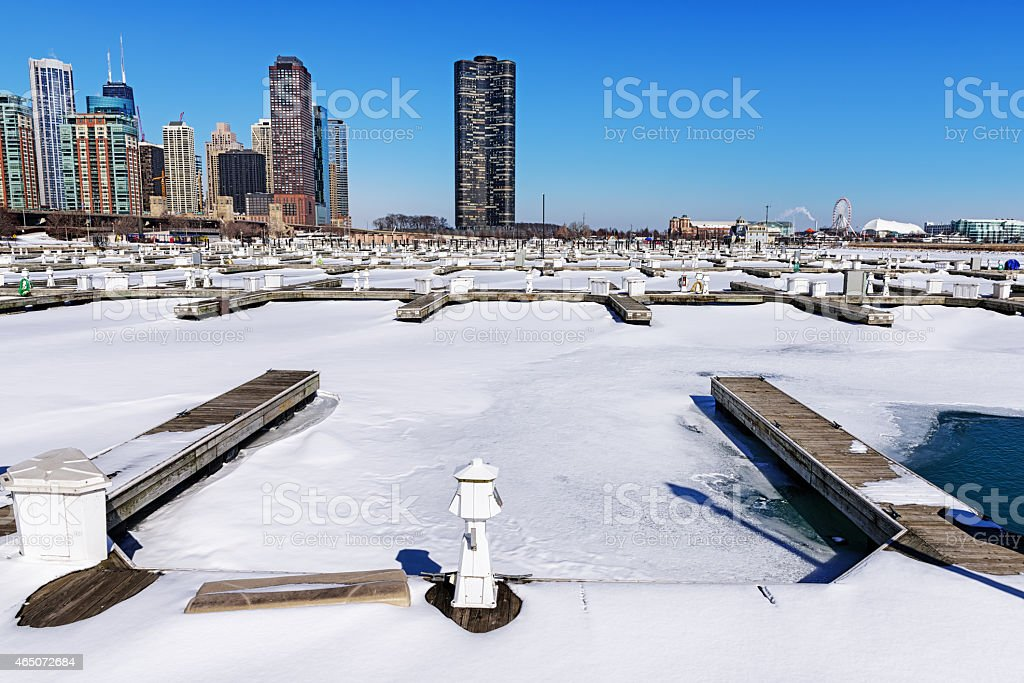 DuSable Harbor in winter, Chicago stock photo