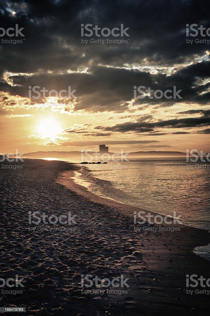 Abenddämmerung über der Bucht von Lübeck - Lizenzfrei Abenddämmerung Stock-Foto