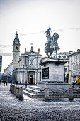 istock Dusk Above San Carlo Square and Monument to Emmanuel Philibert In Turin, Italy 1252527443