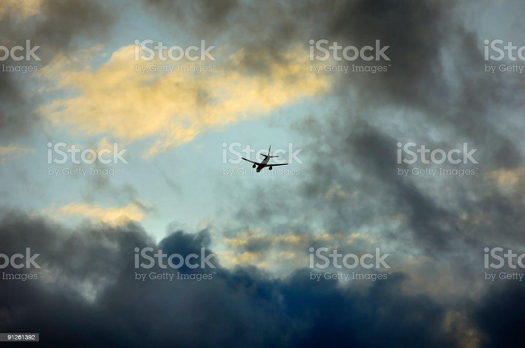 Dusk Airplane stock photo