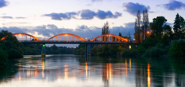 Dusk along the Waikato River in Hamilton, New Zealand stock photo