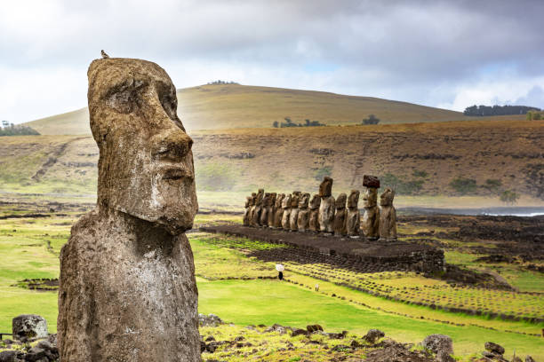 Dusk at Ahu Tongariki Easter Island, Chile. indo pacific ocean stock pictures, royalty-free photos & images