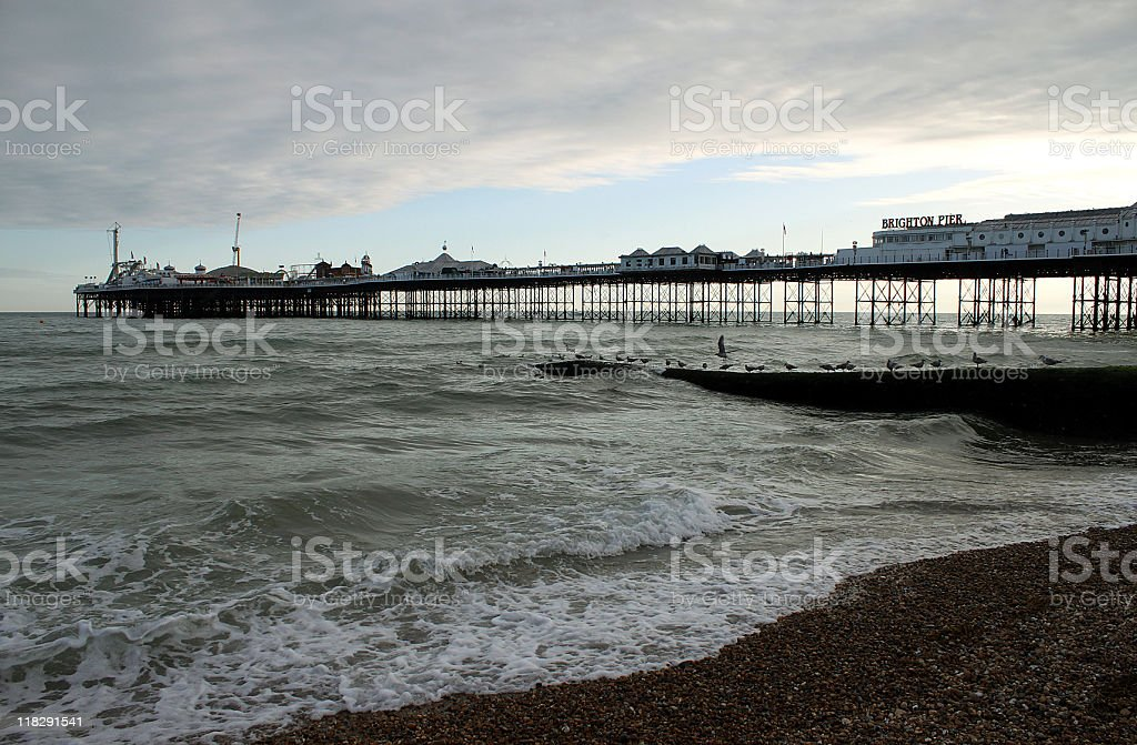 Dusk at Brighton pier, East Sussex royalty-free stock photo