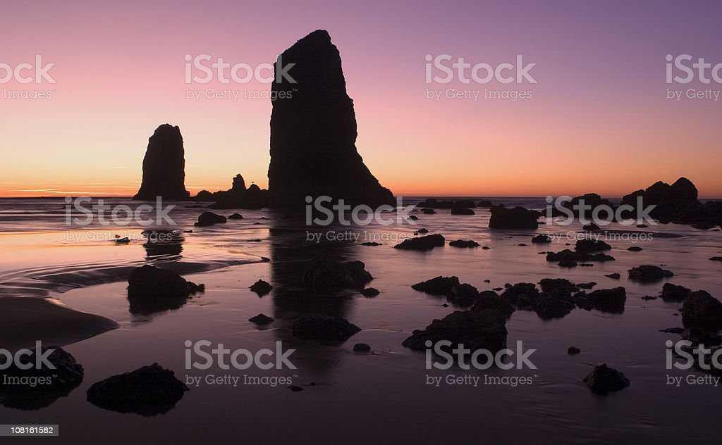 Dusk at Cannon Beach, Oregon Coast royalty-free stock photo