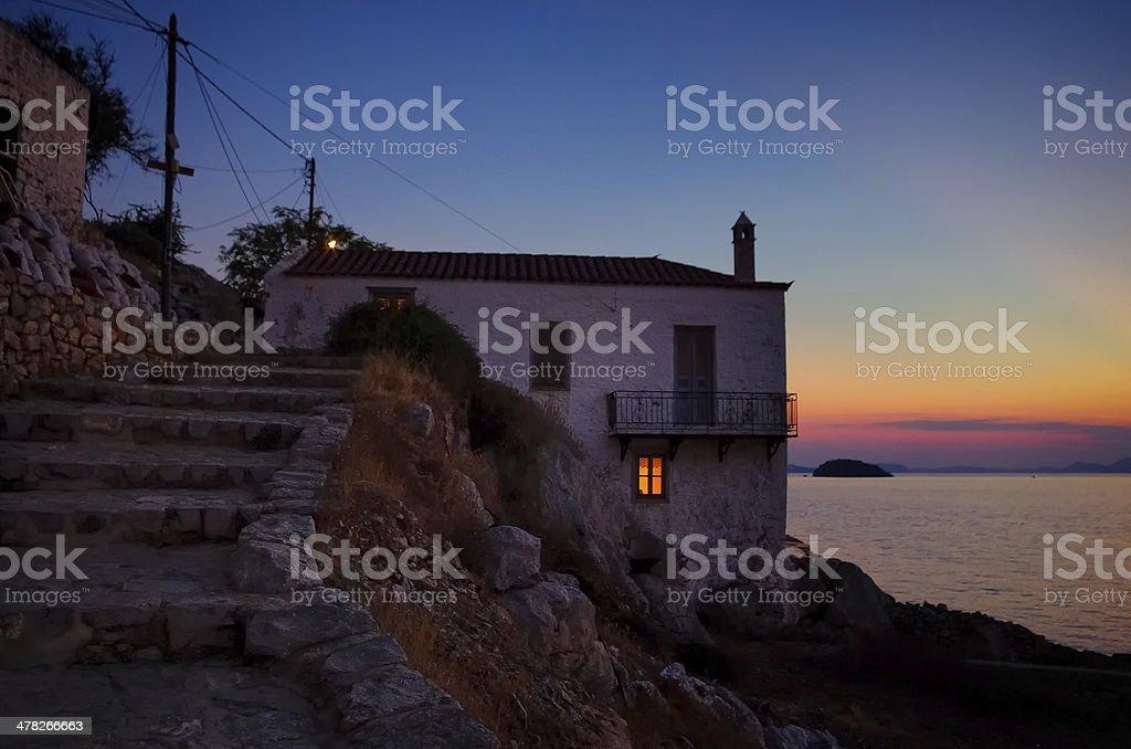 Dusk at Hydra island, Greece royalty-free stock photo