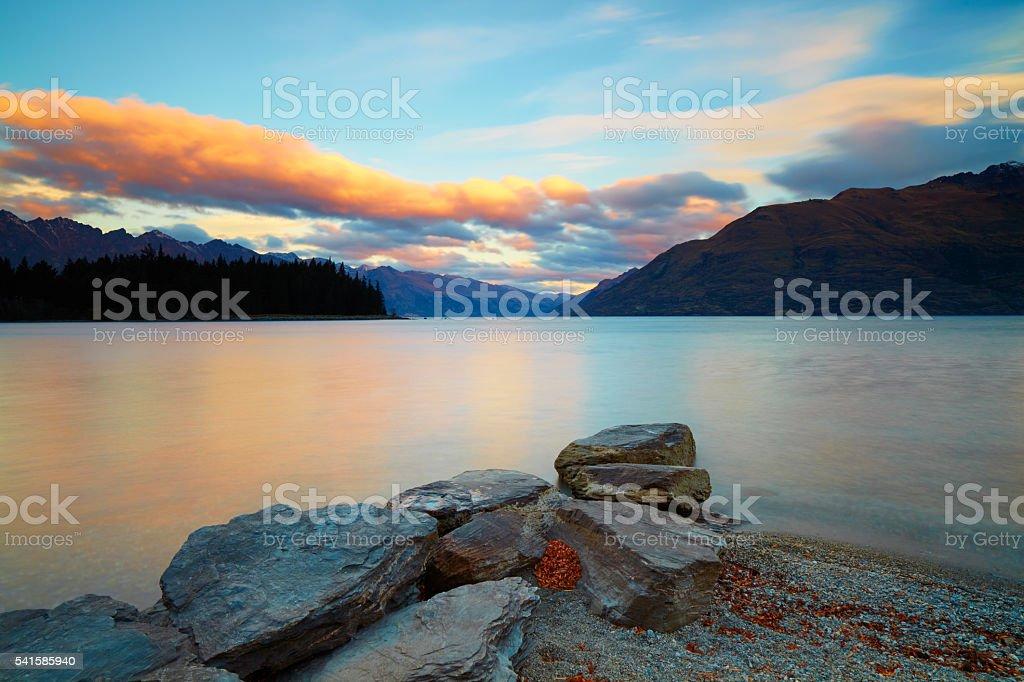 Dusk At Lake Wakatipu On New Zealand's South Island stock photo