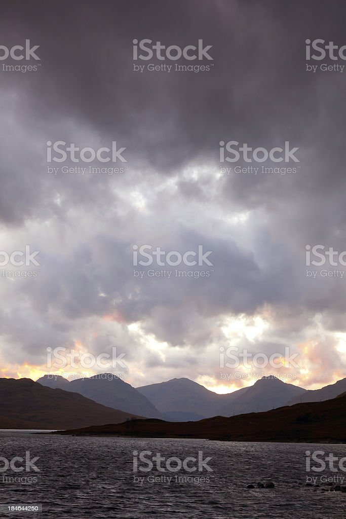Dusk at Loch Arklet. royalty-free stock photo
