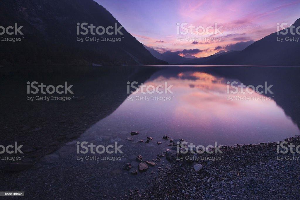 dusk at lovely alpine lake 'Heiterwanger See' royalty-free stock photo