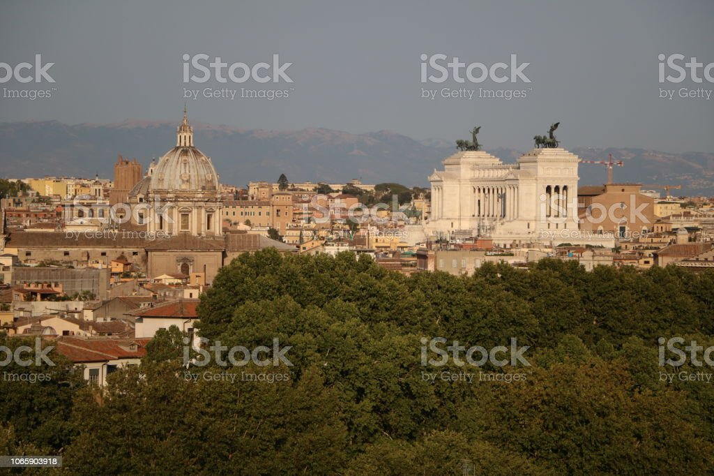 Dusk At Rome View From The Terrazza Del Gianicolo Italy