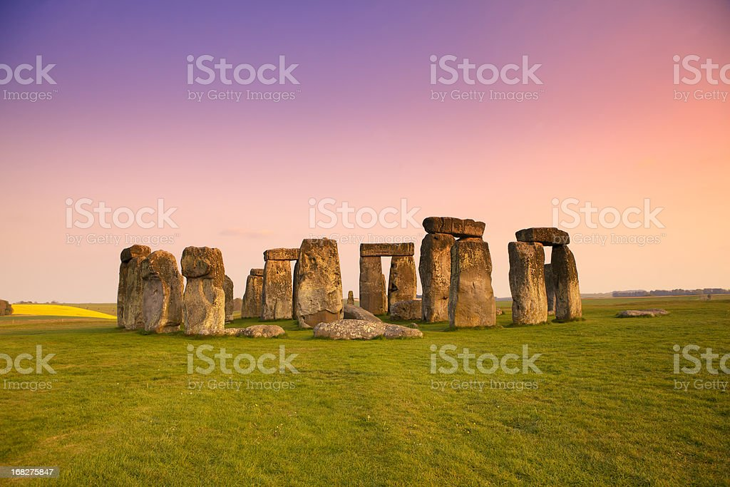 Dusk at Stonehenge in the Spring stock photo