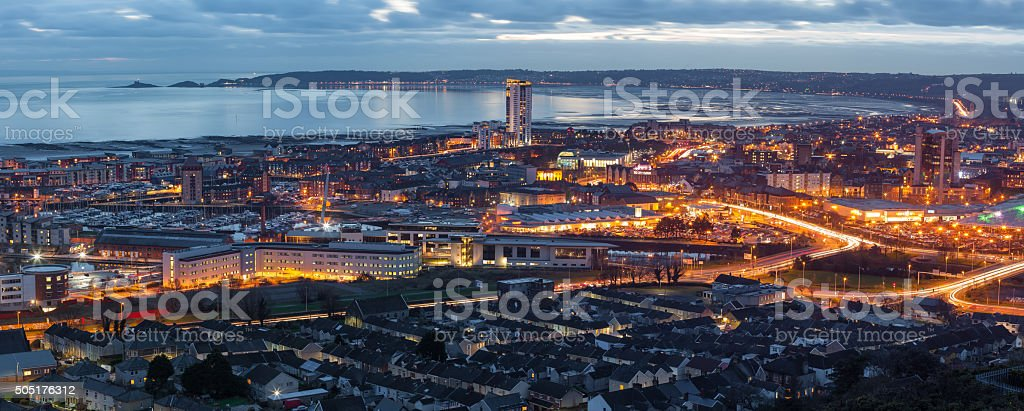Dusk at Swansea city stock photo