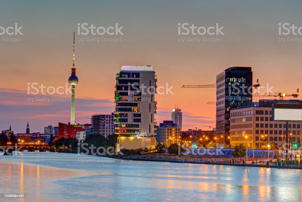 Dusk at the river Spree in Berlin stock photo