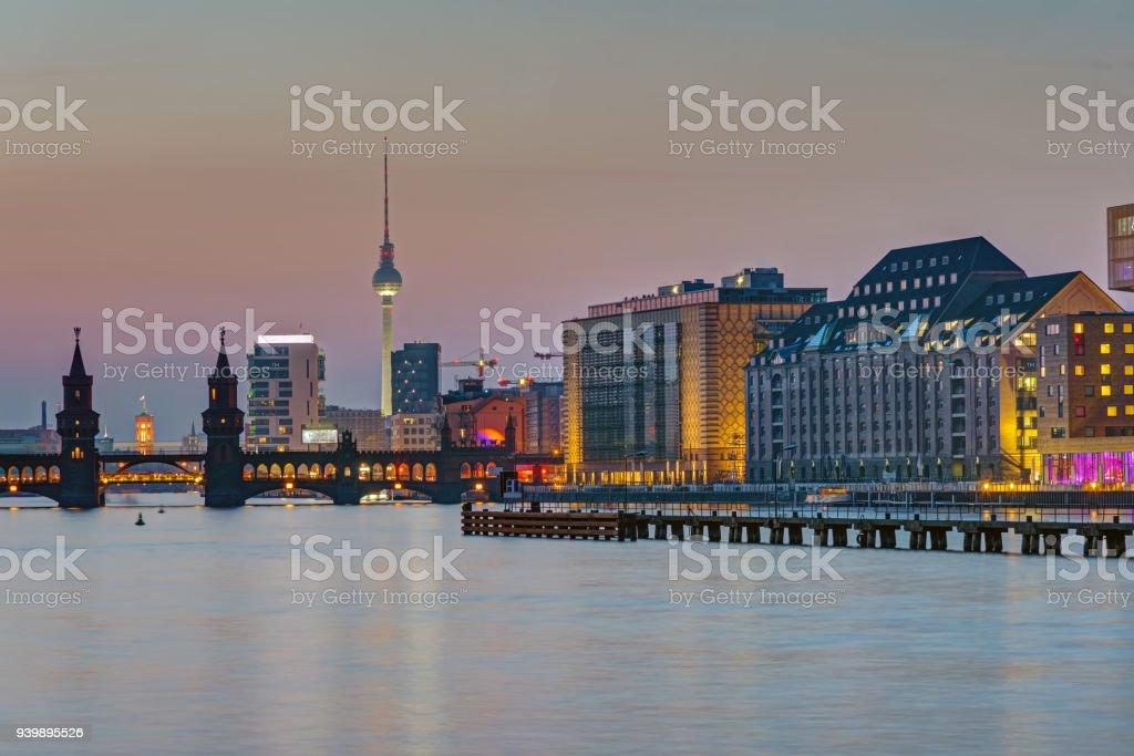 Dusk at the river Spree in Berlin stock photo