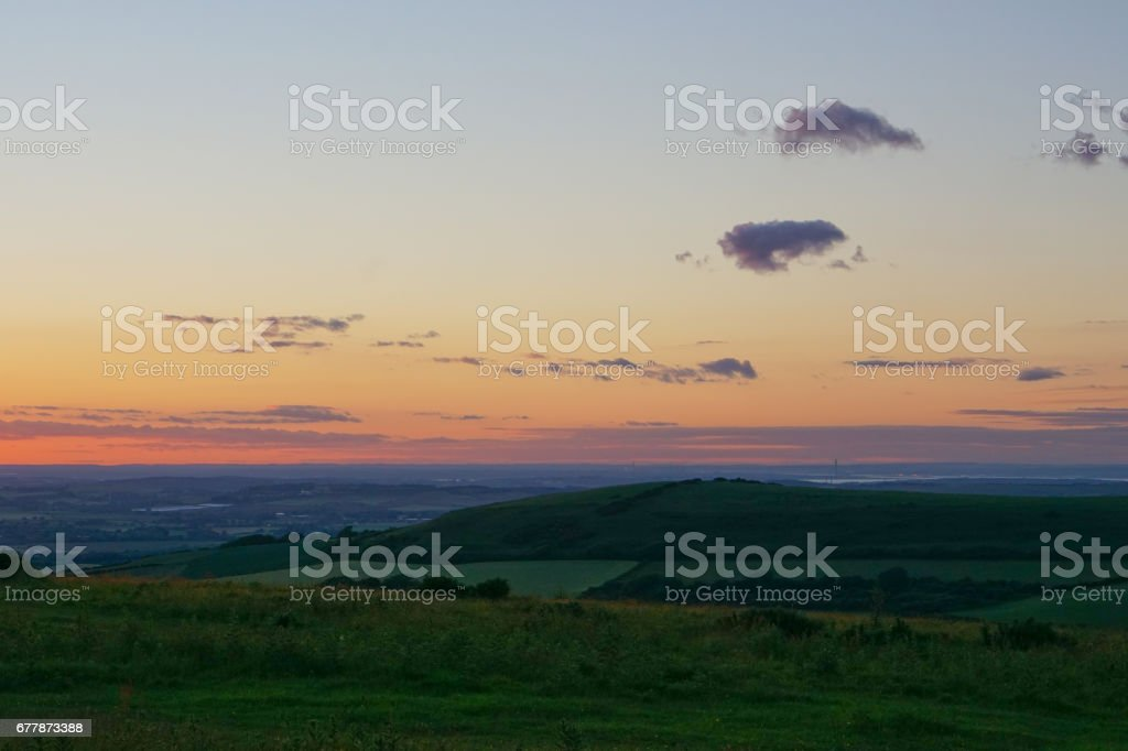 Dusk at Ventnor Down stock photo