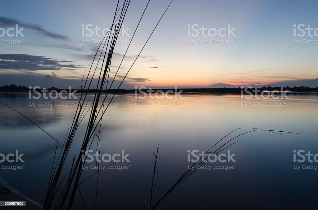 Dusk by the river stock photo