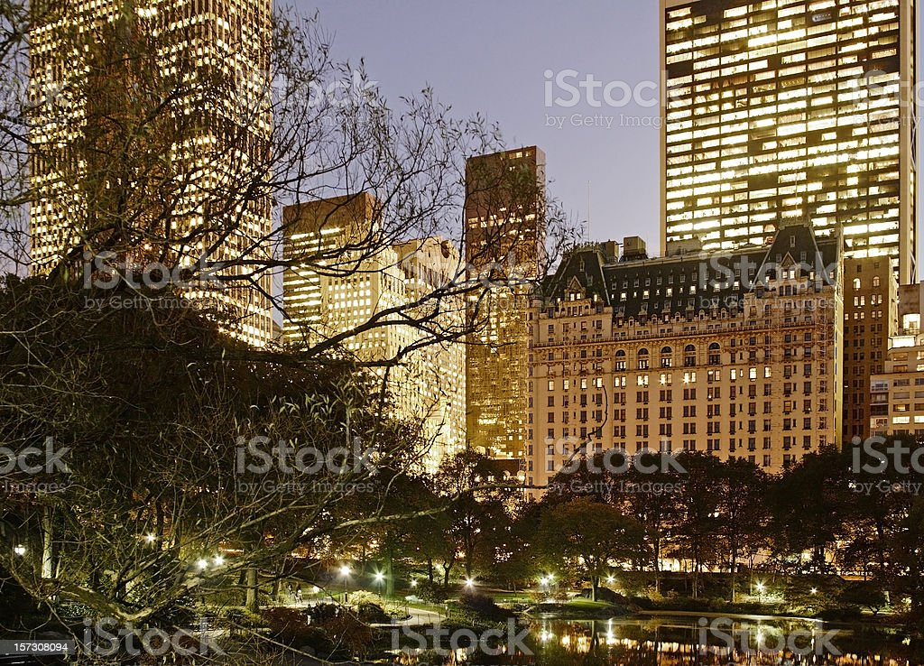 Dusk Central Park Manhattan Skyline stock photo
