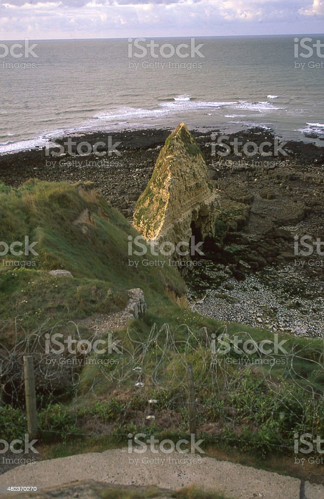 Dusk English Channel at Pointe du Hoc Normandy Isigny-sur-Mer France stock photo