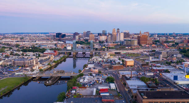 Dusk Falls on the Urban Downtown Metro Area of Newark New Jersey stock photo